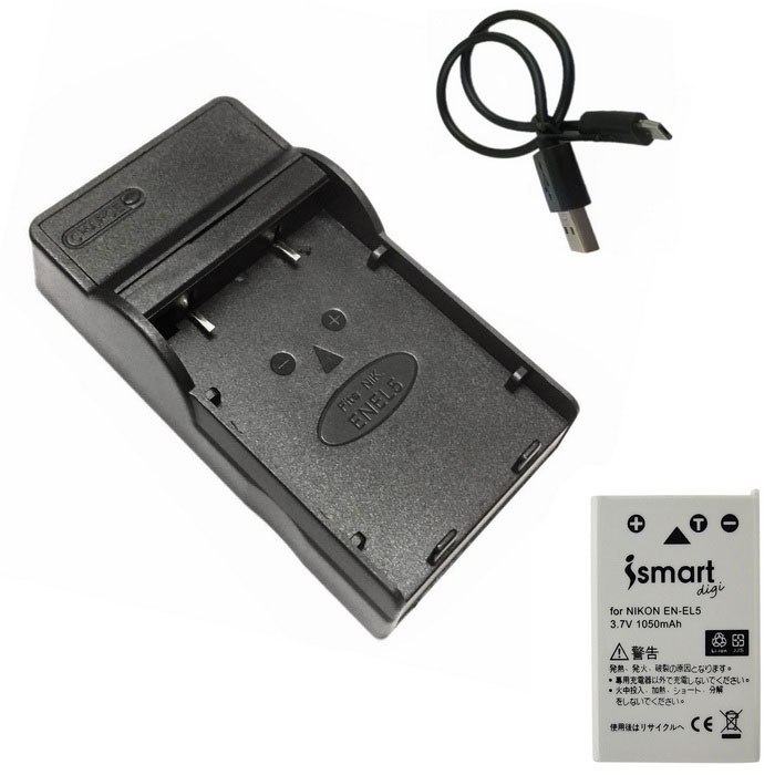 ismartdigi EL5 Battery + Micro USB Camera Battery Charger - Black
