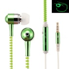Hat-Prince 3.5mm Jack Luminous Stereo Earphones w/ Microphone - Green