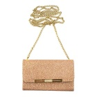 Glittering Wallet Style Long Chain Messenger Backpack Case - Rose Gold