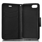 Cross Pattern PU Full Body Case w/ Card Slots for IPHONE 7 - Black