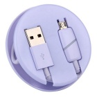Micro USB Phone Charging Data Cable w/ Induction Light - Purple (1m)