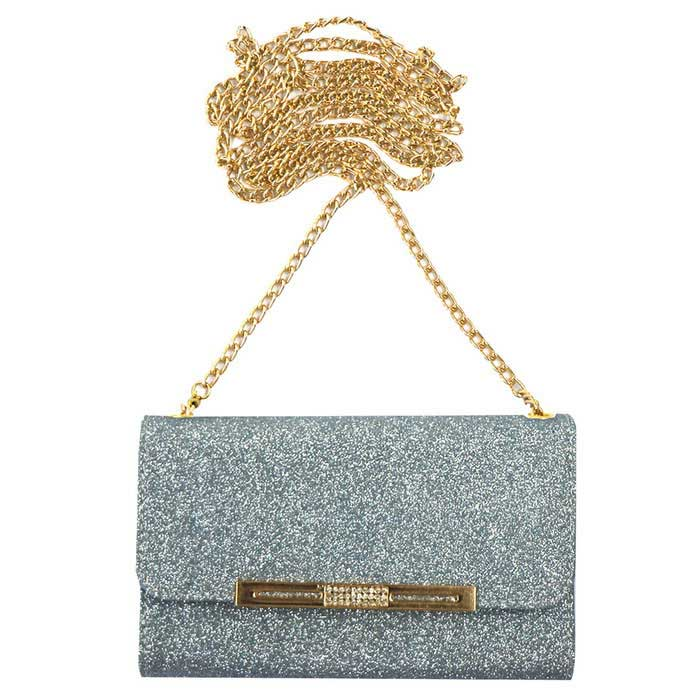 Glittering Wallet Style Long Chain Messenger Backpack Case - Blue