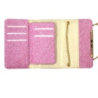 Glittering Wallet Style Long Chain Messenger Backpack Case - Dark Pink