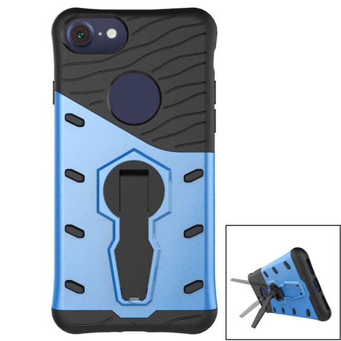 TPU + PC Back Case w/ Holder Stand for IPHONE 7 - Blue + Black