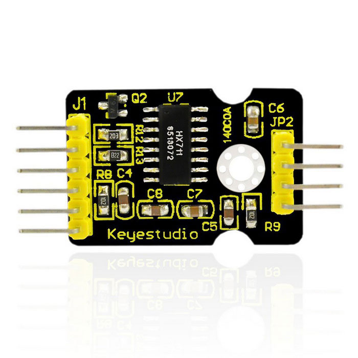 keyestudio HX711 Load Cell Pressure Sensor Module for ArduinoSensors<br>Form  ColorBlack + YellowModelHX711Quantity1 setMaterialFR4ApplicationArduino experimentWorking Voltage   DC 5 VEnglish Manual / SpecNoDownload Link   NoOther Features1.Adopts HX711 24-bit high precision A/D converter chip.<br>2.It has two analog input channel. Internal is integrated with 128 times programmable gain amplifier.<br>3.Input circuit can be configured to bridge type (such as pressure, weighing) sensor mode.<br>It is an ideal, high precision, low cost, front-end sampling module.Packing List1 * HX711 Load Cell Pressure Sensor<br>