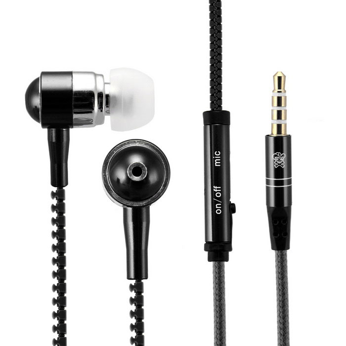 Hat-Prince 3.5mm Jack Stereo Earphones w/ Microphone - Black