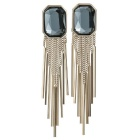 Square Austrian Crystal Tassel Drop Earrings - Rose Gold + Navy Blue
