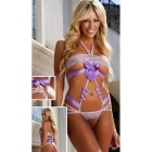 Bundled Open File Chest 3-Point Bikini Sexy Lingerie - White + Purple