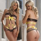 Bundled Open File Chest 3-Point Bikini Sexy Lingerie - Black + Yellow