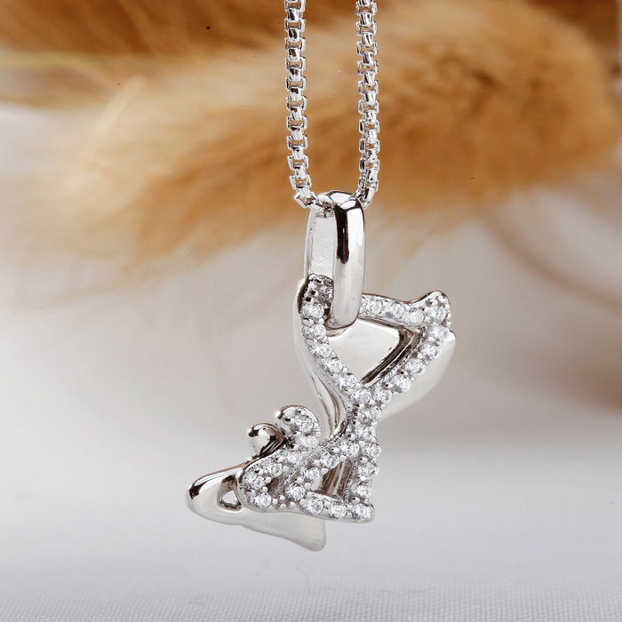 SILVERAGE Two Cats Pendant Necklace - Silver