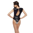Europe Patent Leather Open File Sexy Lingerie Chest One-Piece Pajamas