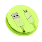 Micro USB Phone Charging Data Cable w/ Induction Light - Green (1m)