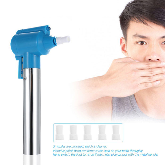 Teeth Polishing Household Teeth Whitening Cleaning Rubber - SilverOral Tooth Care<br>Form ColorSilver + BlueModelYG005-SZMaterialstainless steelQuantity1 DX.PCM.Model.AttributeModel.UnitShade Of ColorSilverPower SupplyAAPower AdapterWithout Power AdapterVoltage3 DX.PCM.Model.AttributeModel.UnitPacking List1 * Dental polisher5 * Polishing cups<br>