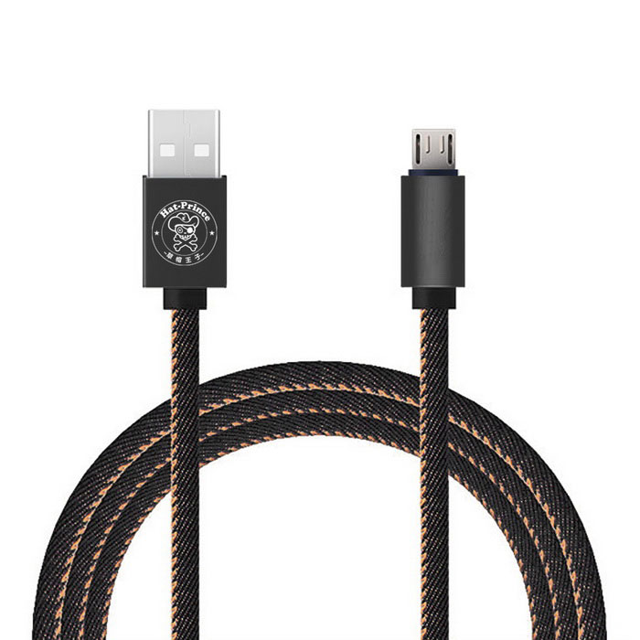 Hat-Prince Jeans Style Micro Usb Data / Charger Cable 2.4A - Black