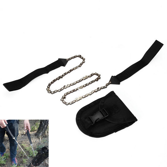 Portable Foldable Manual See-Saw Chain Saw - Black