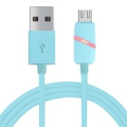 Micro USB Phone Charging Data Cable w/ Induction Light - Blue (1m)