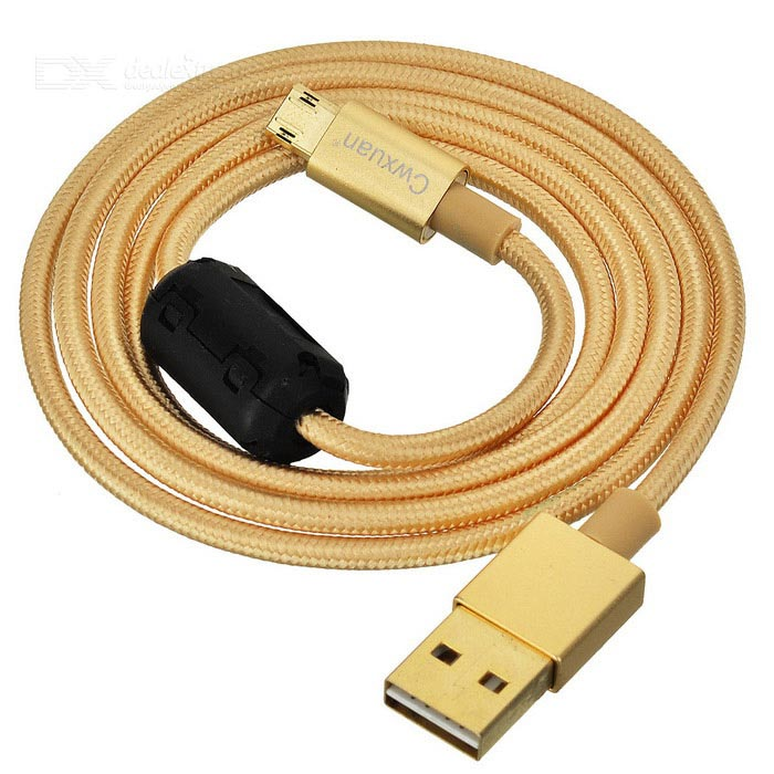 Cwxuan Micro USB to USB 2.0 Dual-Side Plugging Cable - Champaign Gold
