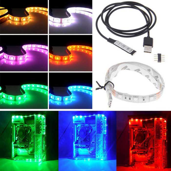 USB DC 5V 5W 5050 RGB 50CM 30-LED Full Color Decoration LampUSB Lights<br>Form  ColorWhite + Black + Multi-ColoredQuantity1 DX.PCM.Model.AttributeModel.UnitMaterialSilicone line + glass fiber boardShade Of ColorWhiteLight ColorRGB(R:635nm G:525nm B:460nmLED QtyOthers,30LED TypeAtmosphere lampLight ModeMulti gear adjustment modePowered ByUSBLumens300 DX.PCM.Model.AttributeModel.UnitSnake Cable LengthN/A DX.PCM.Model.AttributeModel.UnitPower5 DX.PCM.Model.AttributeModel.UnitOther FeaturesThis product is used for the purpose of the product: Bicycle decorative lamp, electric vehicle decorative lamp, computer desk atmosphere lamp, TV wall background atmosphere lamp light source, automobile decorative light source and so on.CertificationCE ROHSPacking List1 * 50CM 5050 RGB light bar 1 * USB5V RGB controller (80cm)<br>