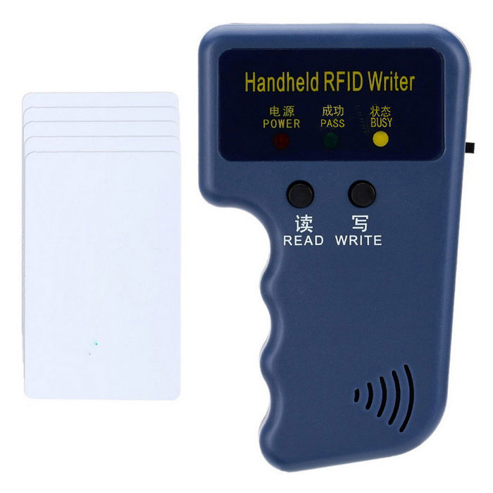 Handheld 125KHz RFID ID Card Writer w/ 5 PCS Writable T5577 CardsOther Security Products<br>Form  ColorBlue+5pcs ID CardMaterialABSQuantity1 DX.PCM.Model.AttributeModel.UnitPower SupplyAAABattery Number2Power AdaptornoPower AdapterBatteryPacking List1 * RFID ID Writer5 * Writable T5577 Cards<br>