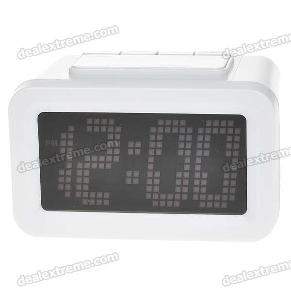 "3.2"" LCD Digital Clock + Alarm with Light Sensor Blue Backlit - White (2*AA)"