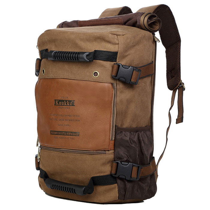 KAUKKO FH09 Outdoor Multifunction 18L Male Canvas Backpack Bag - KhakiForm  ColorKhakiBrandOthers,Others,KAUKKOModelFH09Quantity1 DX.PCM.Model.AttributeModel.UnitMaterialCanvas + CottonTypeOthers,BackpackGear Capacity18 DX.PCM.Model.AttributeModel.UnitCapacity Range0L~20LFrame TypeFramelessNumber of exterior pockets3Raincover includedNoBest UseClimbing,Family &amp; car camping,Mountaineering,Travel,Cycling,FishingTypeHiking DaypacksPacking List1 * Backpack<br>