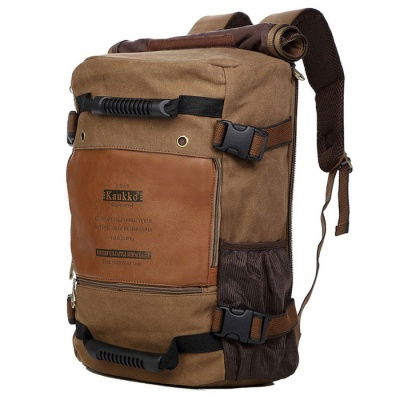 KAUKKO FH09 Outdoor Multifunction 18L Male Canvas Backpack Bag - Khaki