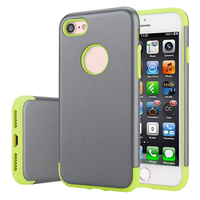 prima de la capa doble de PC + TPU para IPHONE 7 - gris + verde