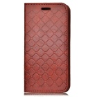 Gird Pattern PU Full Body Case w/ Stand, Card Slot for IPHONE7 - Brown