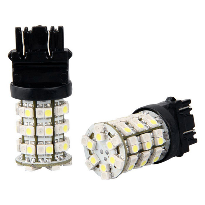QOOK White + Amber 60-SMD LED Car Front Rear Turn Light Bulbs (2PCS)Tail Lights<br>Color BINOthersModelJHII44Quantity2 DX.PCM.Model.AttributeModel.UnitMaterialPCForm  ColorBlackEmitter Type3528 SMD LEDChip BrandOthers,QOOKChip TypeSMDTotal EmittersOthers,60Power3WActual Lumens200 DX.PCM.Model.AttributeModel.UnitRate Voltage12VWaterproof FunctionNoConnector TypeOthers,3157ApplicationSteering lightPacking List2 * LED Bulbs<br>