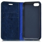 Gird Pattern PU Full Body Case w/ Stand, Card Slot for IPHONE 7 - Blue