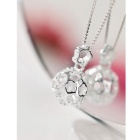 SILVERAGE Flower Filigree Ball Pendant Neckalce - Silver
