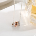 SILVERAGE Plated Two Tone Circle Pendant Necklace - Silver + Rose Gold