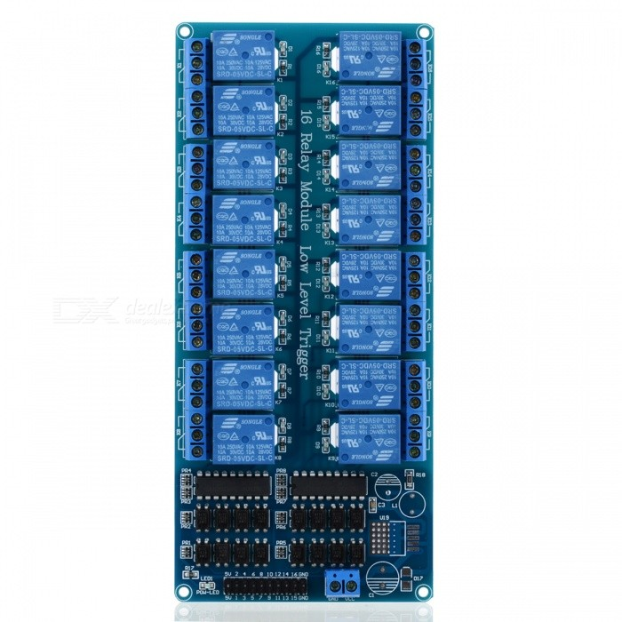 16-Channel 5V Relay Optocoupler Protection Module Board
