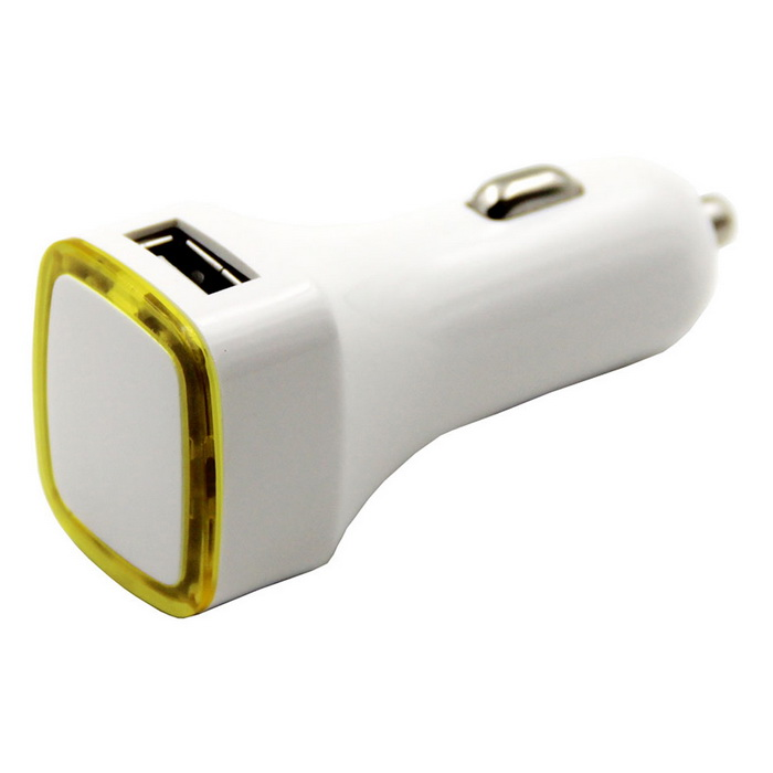 C47 Universal Dual USB Car Cigarette Lighter Charger - White + Yellow