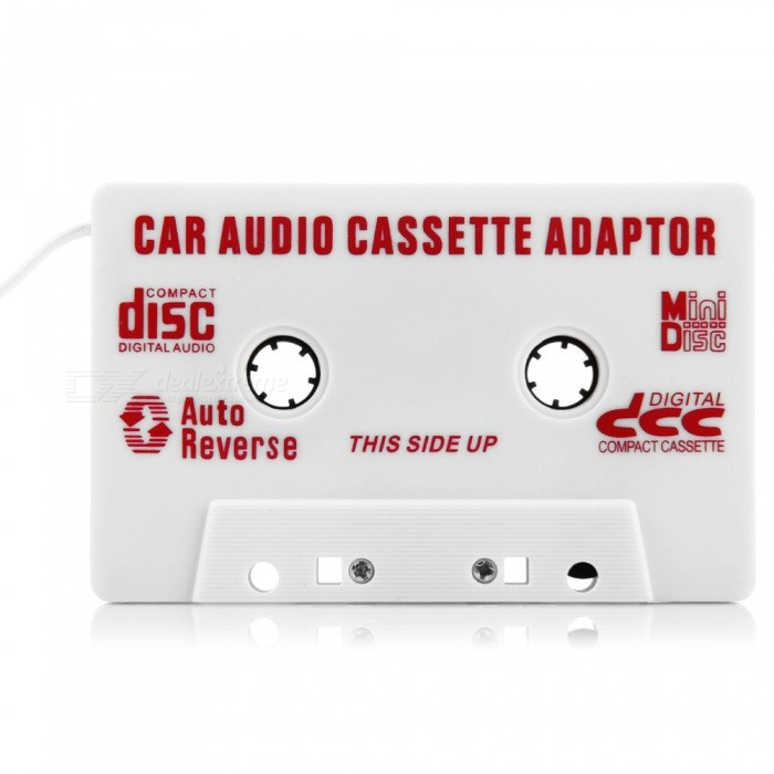 Universal Car Audio Cassette Adapter for MP3/MP3/Cell Phones/Ipod - White (3.5mm Jack)