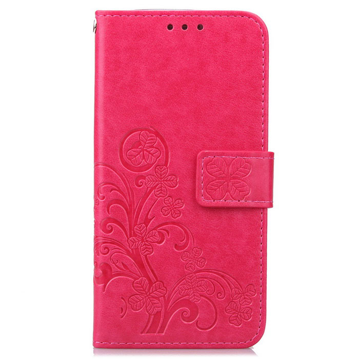 Lucky Clover Embossed Pattern Wallet Case for Samsung Galaxy S7 - Pink