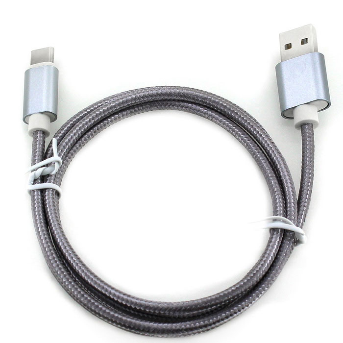USB 3.1 Type-C to USB 2.0 Nylon Braided Data Cable - Dark Gray (102cm)