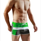 Men's Swimming Splicing Trunks Boxer - Green + Grey (L)