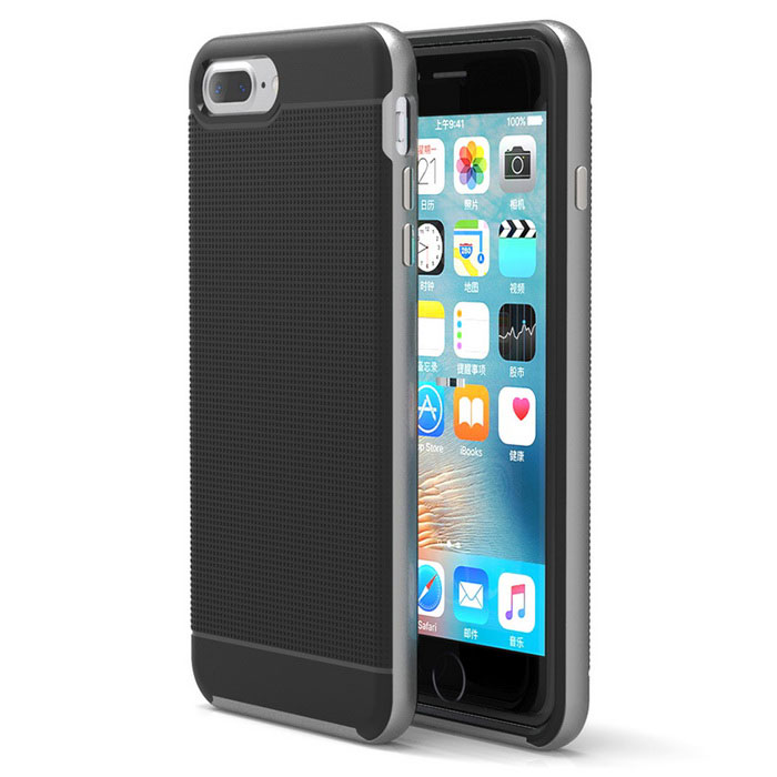 Protective Plastic Back Case for IPHONE 7 PLUS - Iron Grey + Black