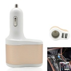 3-in-1 Dual USB Car Cigarette Lighter Charger - White + Golden