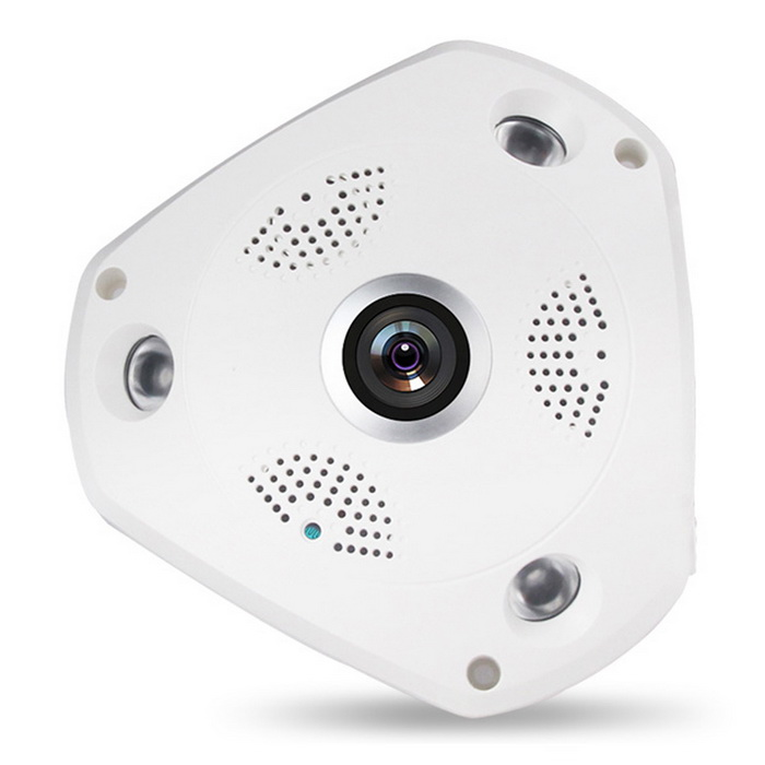 360 Degree Panoramic Fish Eye IP Camera WiFi HD 960P Home SurveillanceIP Cameras<br>Form  ColorWhitePower AdapterEU PlugModelVR-P1-130MaterialPlasticQuantity1 DX.PCM.Model.AttributeModel.UnitImage SensorCMOSImage Sensor SizeOthers,1/4 inchPixels3MPLensOthers,1.1mmViewing AngleOthers,360 DX.PCM.Model.AttributeModel.UnitVideo Compressed FormatH.264Picture Resolution1280?960Frame Rate25FPSInput/OutputSupport two way voiceAudio Compression FormatNo,Others,G711AMinimum Illumination0.02 DX.PCM.Model.AttributeModel.UnitNight VisionYesIR-LED Quantity3Night Vision Distance30 DX.PCM.Model.AttributeModel.UnitWireless / WiFi802.11 b / g / nNetwork ProtocolTCP,IP,UDP,HTTP,SMTP,FTP,DHCP,NTP,DDNS,uPnP,PPPoESupported SystemsXP,Vista,7Supported BrowserIE 6.0 and above,Google Chrome,Firefox,OperaSIM Card SlotNoOnline Visitor3IP ModeDynamicMobile Phone PlatformAndroid,iOS,WindowsSmart AlarmMotion detectionPTZ memoryFreeFree DDNSYesIR-CUTYesBuilt-in Memory / RAMNoLocal MemoryYesMemory CardTF cardMax. Memory Supported32GBMotorNoRotation Angle360 degreeSupported LanguagesEnglishWater-proofNoRate Voltage12Rated Current1 DX.PCM.Model.AttributeModel.UnitIntercom FunctionYesPacking List1 * Dome camera 1 * Power adapter1 * User Manual1 * Bag of screw<br>