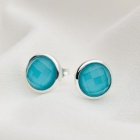 SILVERAGE Maldives Blue Round Button Stud Earrings