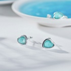 SILVERAGE Maldives Blue Silver Heart Stud Earrings