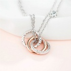 SILVERAGE Two Tone Twisted Circle Pendant Necklace