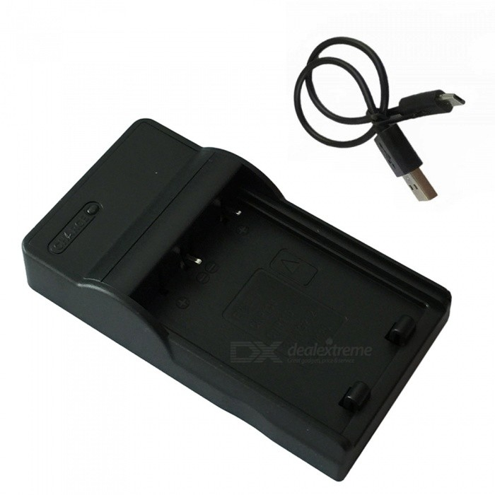 W126 Micro USB Mobile Camera Battery Charger for FujiFilm - Black
