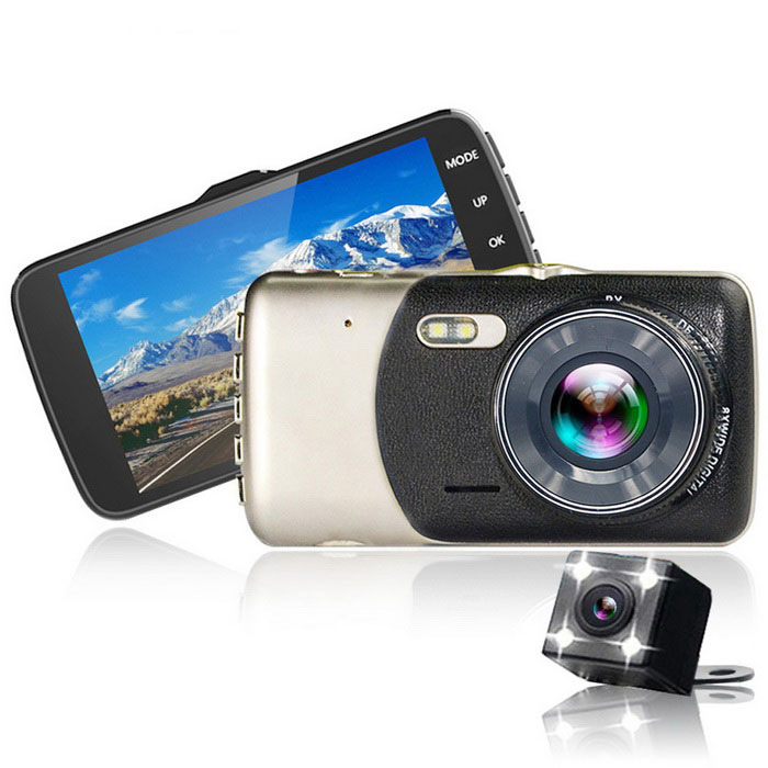 4.0 inch Screen Dual Video Camera Recorder Car DVR- Black + GoldCar DVRs<br>Form  ColorBlack + EarthyModelKELIMA -V0R1Quantity1 DX.PCM.Model.AttributeModel.UnitMaterialZinc alloy + ABS.ChipsetOthers,generalplusScreen Size4-4.9Other FeaturesOthers,N/AScreen Resolution:1920 x 1080 DX.PCM.Model.AttributeModel.UnitCamera Pixel0.3-0.9MP,2.9-2.9MP,3-4.9MP DX.PCM.Model.AttributeModel.UnitVideo Resolution1920 x 1080 DX.PCM.Model.AttributeModel.UnitWide Angle170°-189°Camera Lens2Image SensorCMOSImage Sensor Size1/2.7 inchesCamera Pixel1.3MPExternal Camera Pixel300KPWide AngleOthers,170Optical ZoomNoScreen TypeTFTScreen SizeOthers,4.0 inchesISOOthers,100   200   400Exposure CompensationOthers,-3-2-1 0 1  2  3White Balance ModeOthers,Sunlight, cloudy, tungsten, filament lamp fluorescent, automaticallyVideo FormatAVIDecode FormatOthers,MJPGVideo OutputPAL,NTSCVideo ResolutionOthers,1280*720Video Frame Rate30ImagesJPGStill Image ResolutionOthers,(1M 2M 3M)Audio SystemMonophonyMicrophoneYesMotion DetectionYesAuto-Power OnYesLED QtyOthers,1IR Night VisionYesG-sensorYesLoop RecordOthers,1 2 3Delay ShutdownYesTime StampYes (ON Or OFF)Built-in Memory / RAMNoMax. Capacity32GBStorage ExpansionTFAV InterfaceAV-outData interfaceMini USBWorking Voltage   DC 5 DX.PCM.Model.AttributeModel.UnitBattery Capacity300 DX.PCM.Model.AttributeModel.UnitWorking Time5~6 DX.PCM.Model.AttributeModel.UnitMenu LanguageOthers,N/AOther FeaturesCixin using 4.0 TFT screen, before and after the double lens /<br>Support, automatic cycle video, enhanced night vision and motion detecting gravity induction parking monitoring, license plate editor, such as cameras, after using light four LED lamp belt reversing image, benchmarking night back clearly visible/be clear at a glance, have waterproof function/rain shock resistance etcPacking List1 * Recorder1 * Car charger (300cm)1 * External camera (600cm)1 * Support 2 * Screws1 * Chinese and English instruction<br>