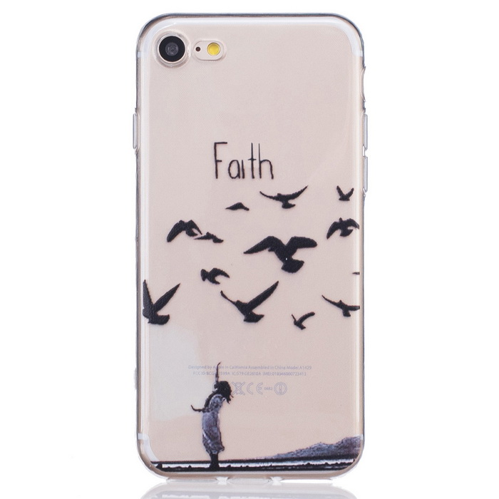 Faith Pattern TPU Protective Back Case for IPHONE 7 - Transparent