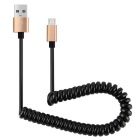 V8 / Micro USB to USB Metal Stretchable Spring Cable - Golden (1m)