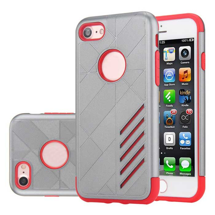 Dual Layer PC + TPU Case for iPhone 7 - Grey + Red