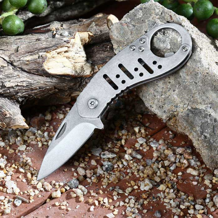 Outdoor Survival Stainless Steel Foldable Knife w/ Bottle Opener